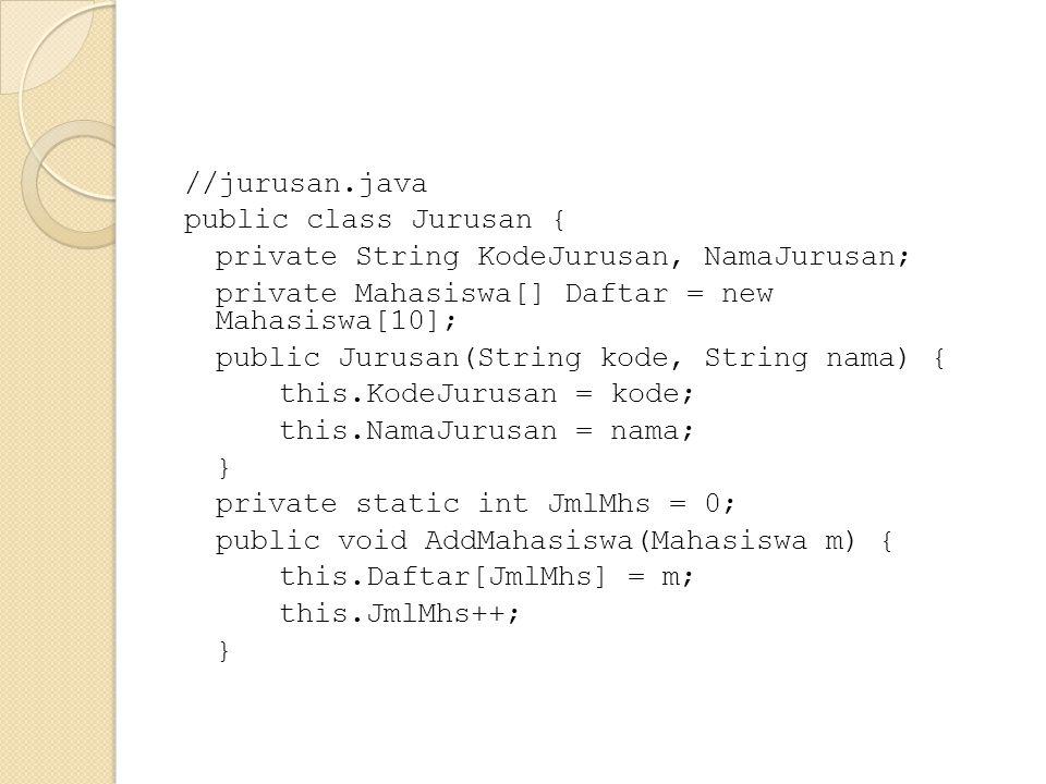 //jurusan.java public class Jurusan { private String KodeJurusan, NamaJurusan; private Mahasiswa[] Daftar = new Mahasiswa[10]; public Jurusan(String kode, String nama) { this.KodeJurusan = kode; this.NamaJurusan = nama; } private static int JmlMhs = 0; public void AddMahasiswa(Mahasiswa m) { this.Daftar[JmlMhs] = m; this.JmlMhs++;